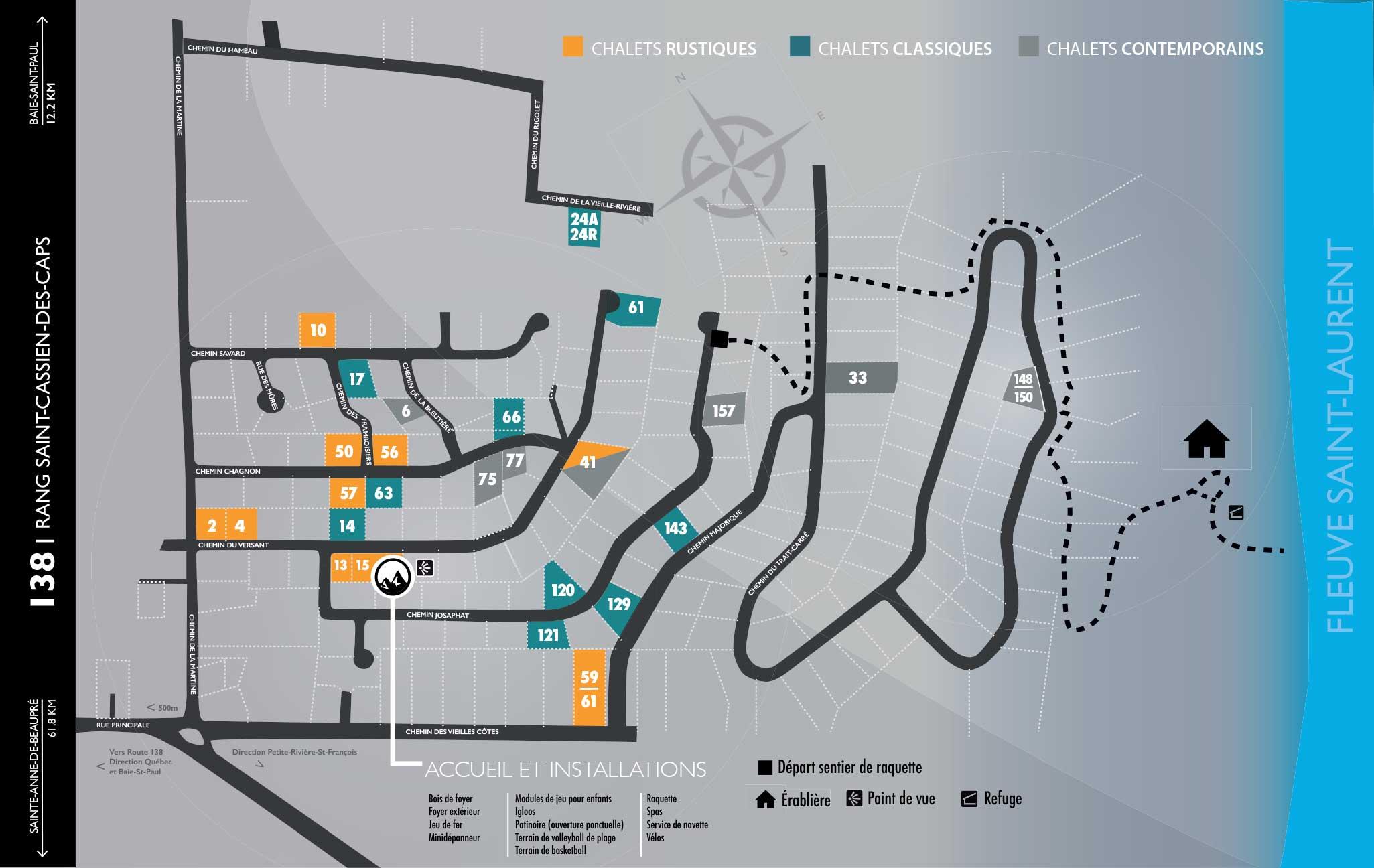 Carte des chalets de Sommets Chalrevoix